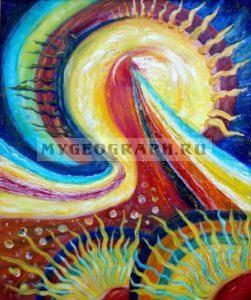 Рождение Вселенной. Картина маслом. 50х60 Чурляев Ю. А.