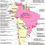 Карта Южной Америки. Общественно-политическая. Самое, самое.