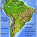 Карта Южной Америки. Физическая. Рекорды.