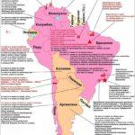 Карта Южной Америки, экономическая. Экономические рекорды.
