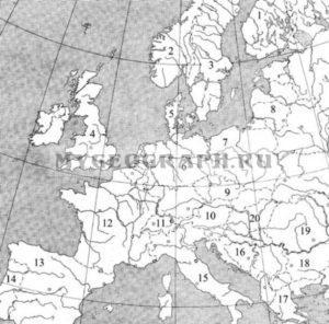 Карта Европы. Определи страны Европы