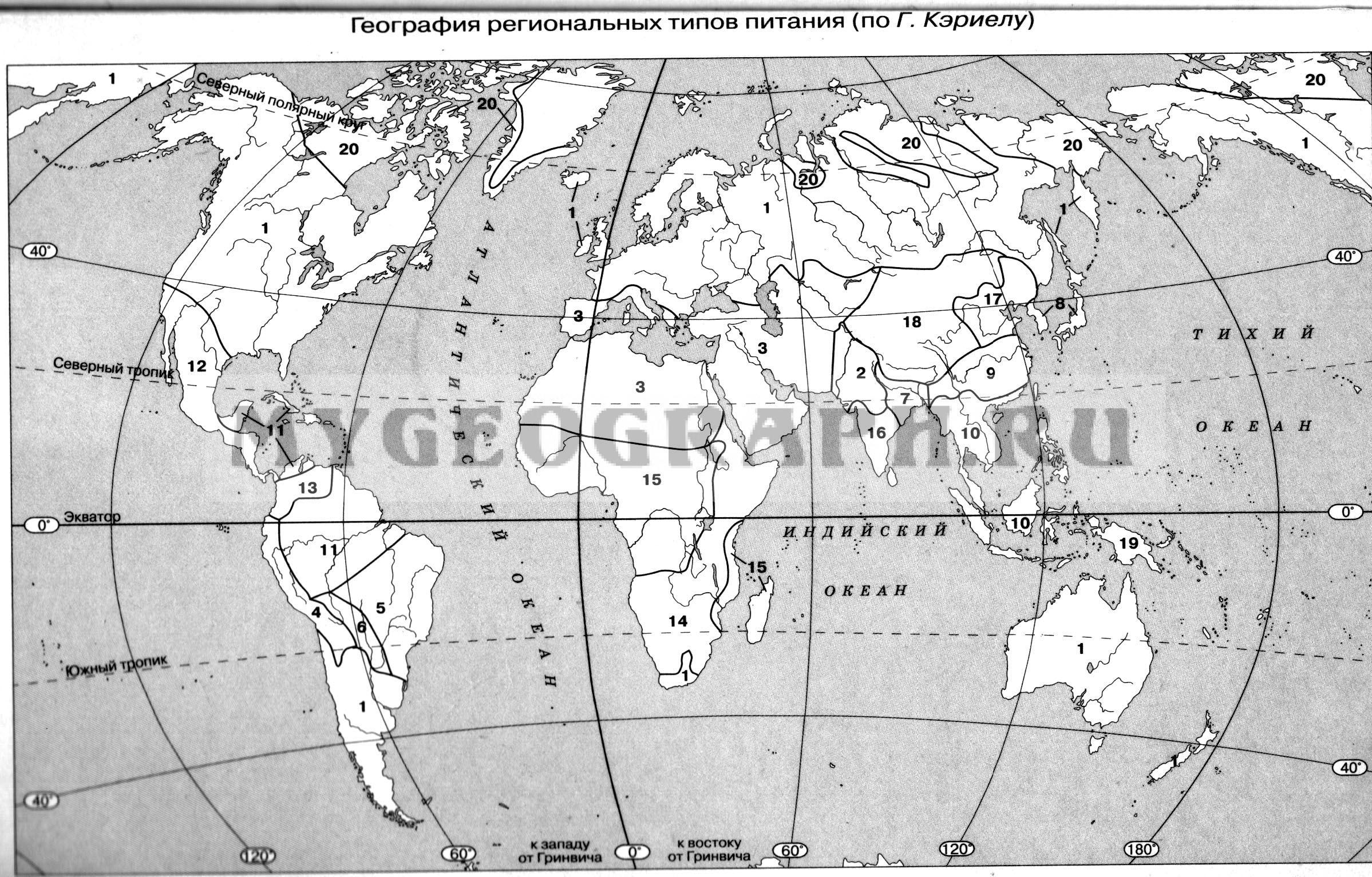 Карта Характеристики региональных типов питания